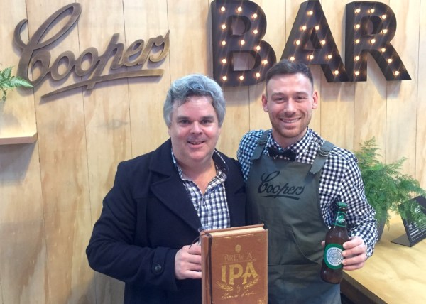 Simon Fahey (left) at the Coopers Bar at GABS in Melbourne