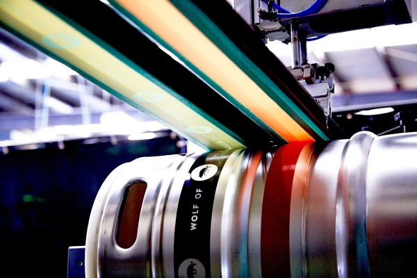 Silkscreen printed kegs for Wolf Of The Willows
