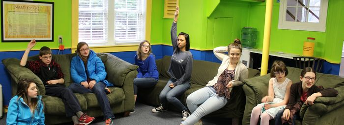 students in Sunday school