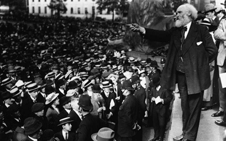 Anti-war politician Keir Hardie addresses a protest in Trafalgar Square (Sunday August 2nd 1914)