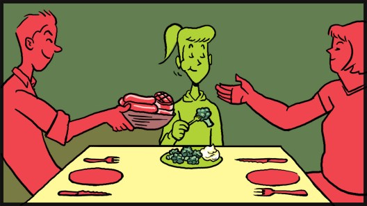 """Spot illustration: """"How to Co-Exist as a Vegetarian"""""""