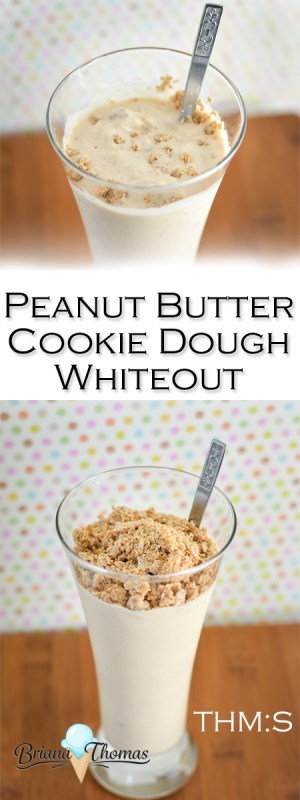 This Peanut Butter Cookie Dough Whiteout is my healthy version of the Peanut Butter Cookie Dough DQ Blizzard! THM:S, low carb, sugar free, gluten/egg free
