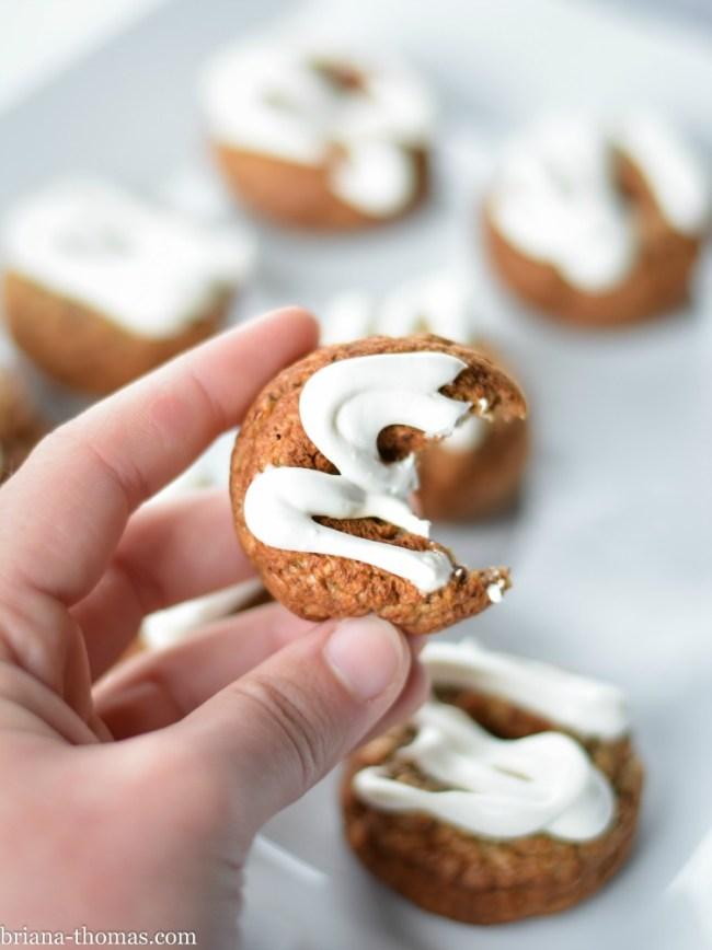 Banana Bread Mini Donuts with Cream Cheese Glaze