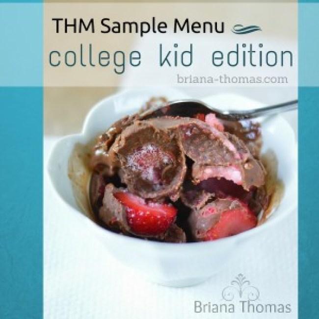 THM Sample Menu - College Kid Edition