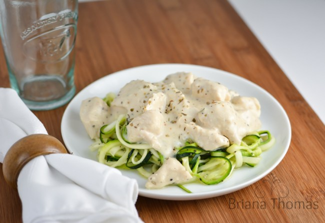Chicken Alfredo over Zoodles