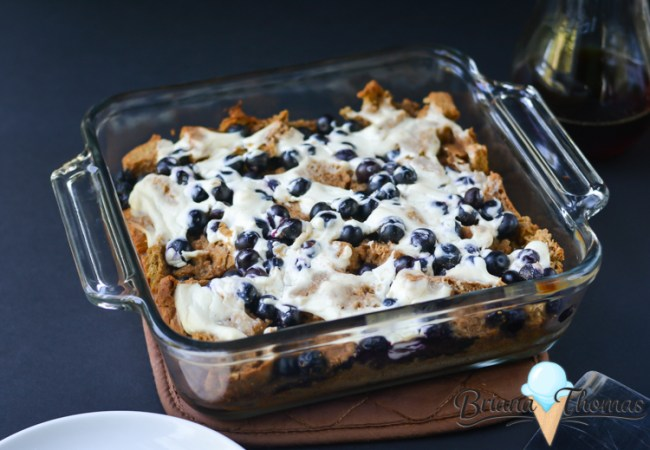 This French Toast Casserole is topped with blueberries and cream cheese, and it falls into the THM:E category (low fat, sugar free).