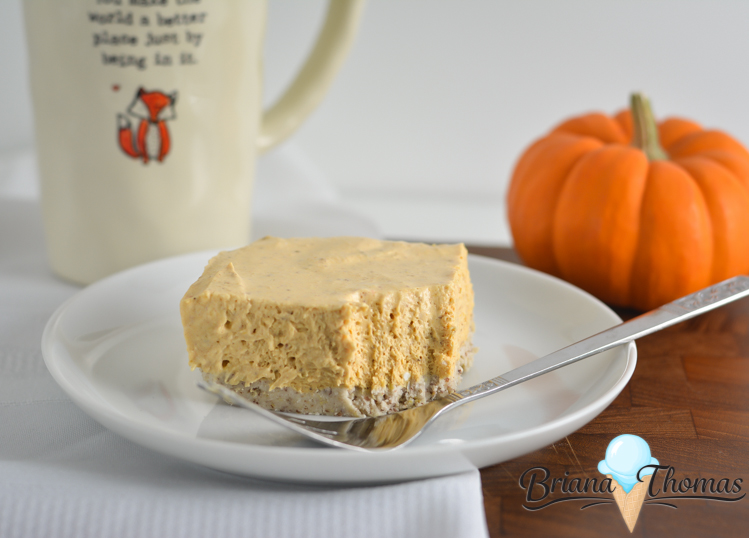 This No-Bake Pumpkin Cheesecake is very easy to make! A yummy no-bake crust topped with pumpkin cheesecake! THM:S, low carb, sugar free, gluten/egg/nut free