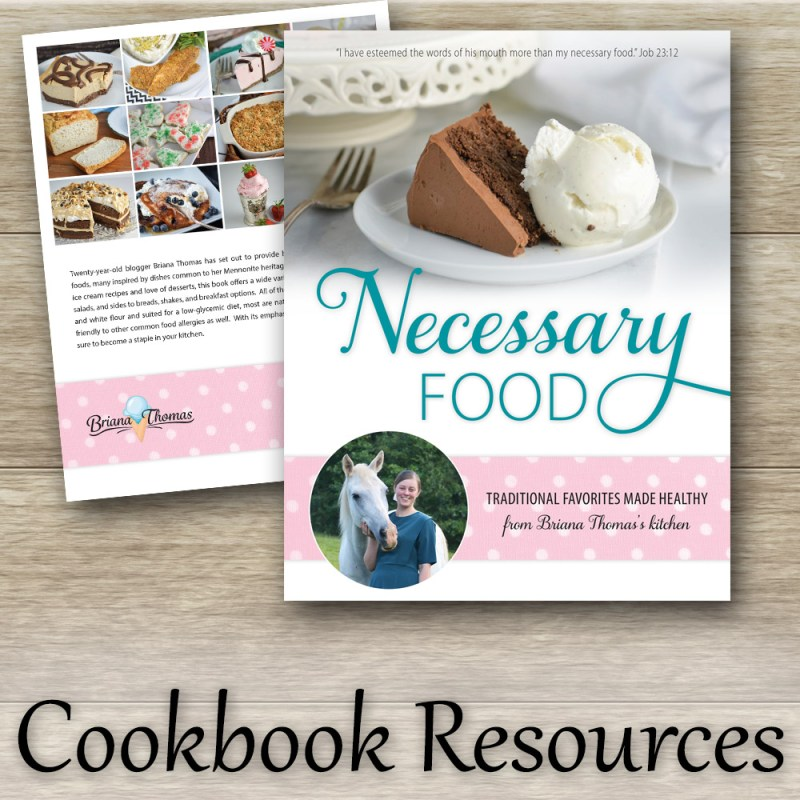 Cookbook Resources page for Necessary Food: Traditional Favorites Made Healthy (low-glycemic cookbook by Briana Thomas)