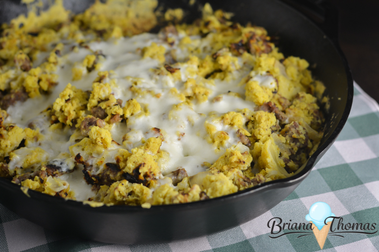 This cast iron skillet sausage and cornbread supper is easy and tasty! It's a THM:S, low carb, sugar free, and gluten/nut free recipe.