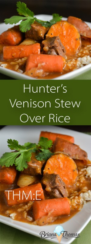 This Hunter's Venison Stew Over Rice is quick and easy to put together in the crockpot! THM:E, low fat, gluten/egg/dairy/nut free