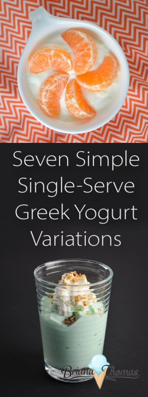 Seven Simple Single-Serve Greek Yogurt Variations - Vanilla, Peanut Butter, Toasted Coconut, Key Lime Pie, Chunky Monkey, Banana Cream, and Orange Cream variations...THM:S, E, and FP options available!