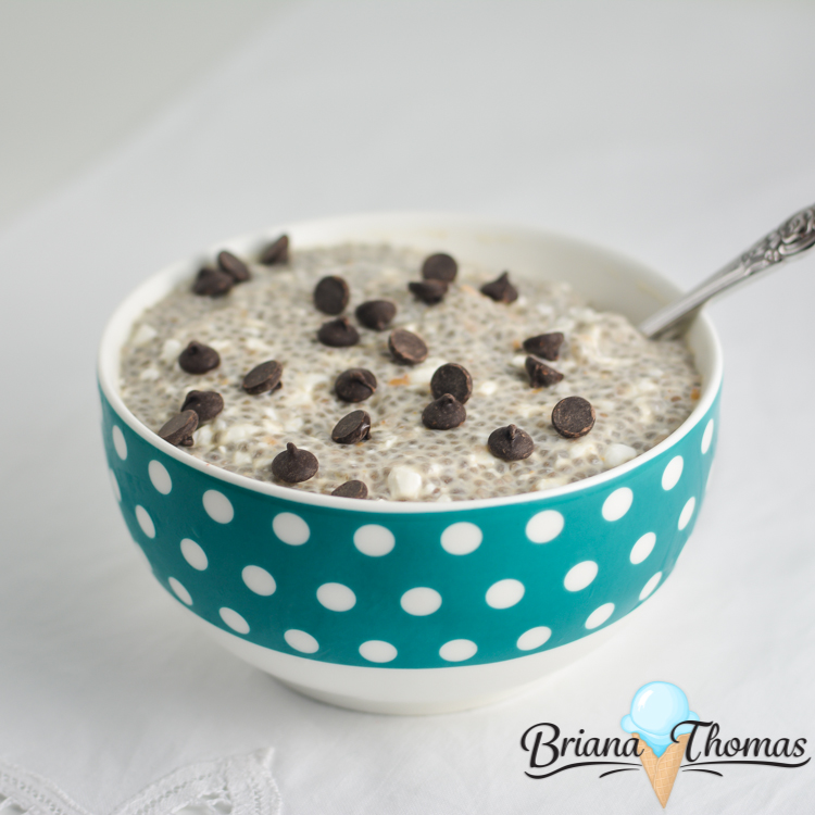 Chunky Monkey Chia Pudding combines peanut butter, chocolate chips, and banana in a filling breakfast pudding! THM:S, low carb, sugar free, gluten/egg free