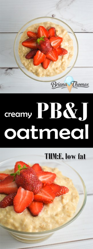 This Creamy PB&J Oatmeal is a non-traditional take on the classic peanut butter and strawberry jelly sandwich flavor! THM:E, low fat, gluten/egg/dairy free