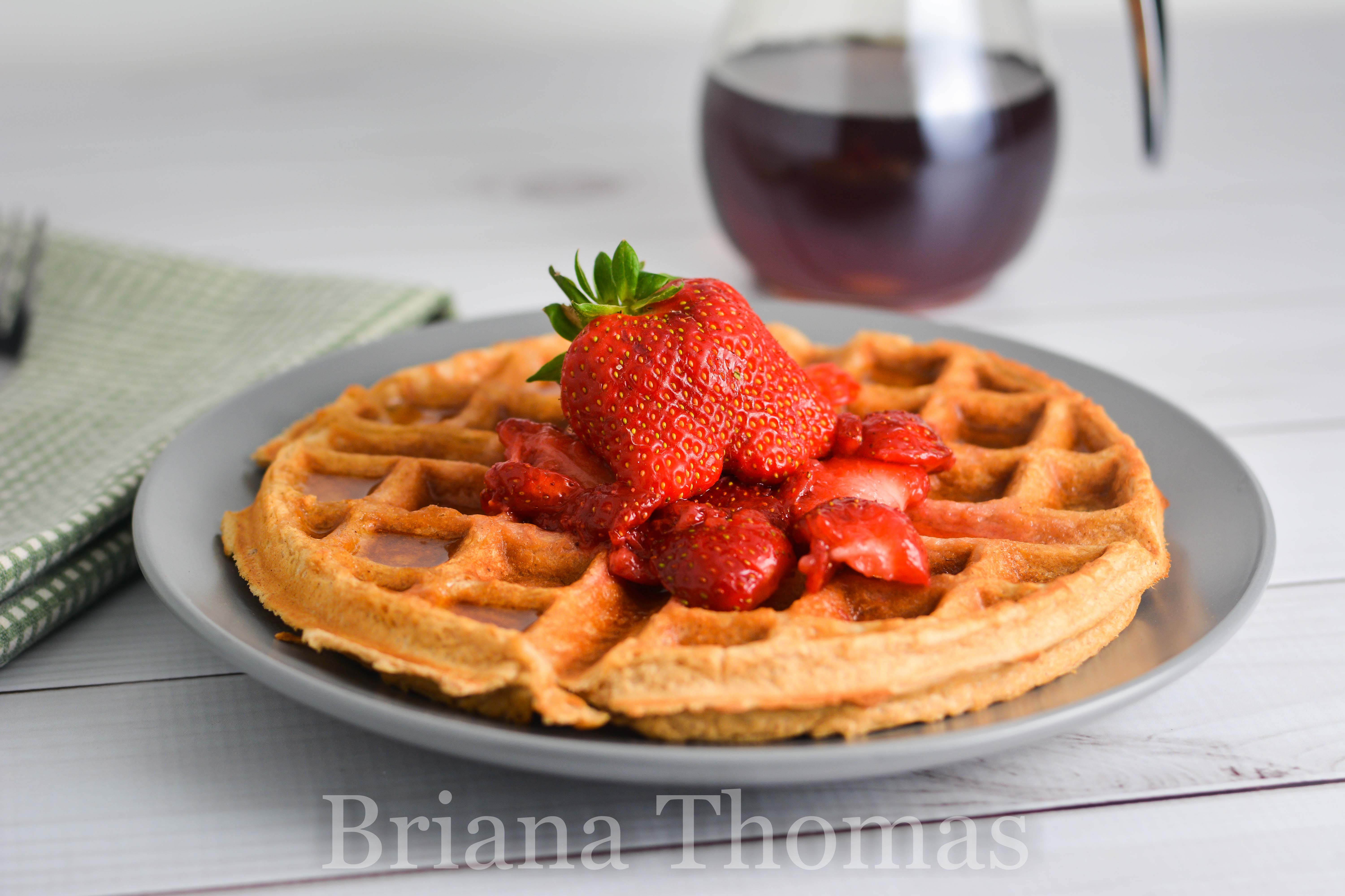 This delicious and filling single-serve PB&J Protein Waffle has over 20g protein and no significant carb or fat sources! THM:FP, sugar free, gluten free