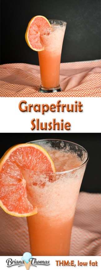 This grapefruit slushie makes a refreshing snack on the lighter side. Only a few ingredients! THM:E, no sugar added, low fat, gluten/egg/dairy/nut free