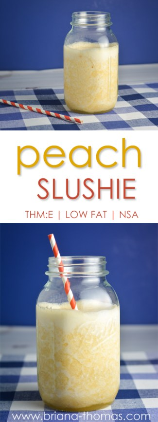 This peach slushie is the perfect light afternoon or evening snack! THM:E, low fat, no sugar added, gluten free, egg free, dairy free, nut free