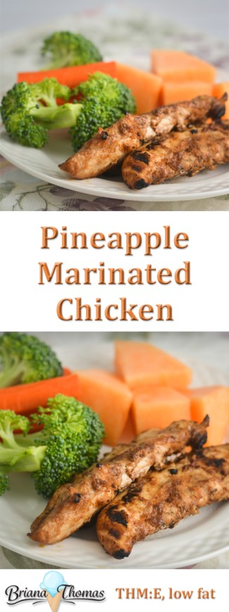 This Pineapple Marinated Chicken was a hit with my family! Have it for supper and eat the leftovers on salad. THM:E, low fat, gluten/egg/dairy/nut free