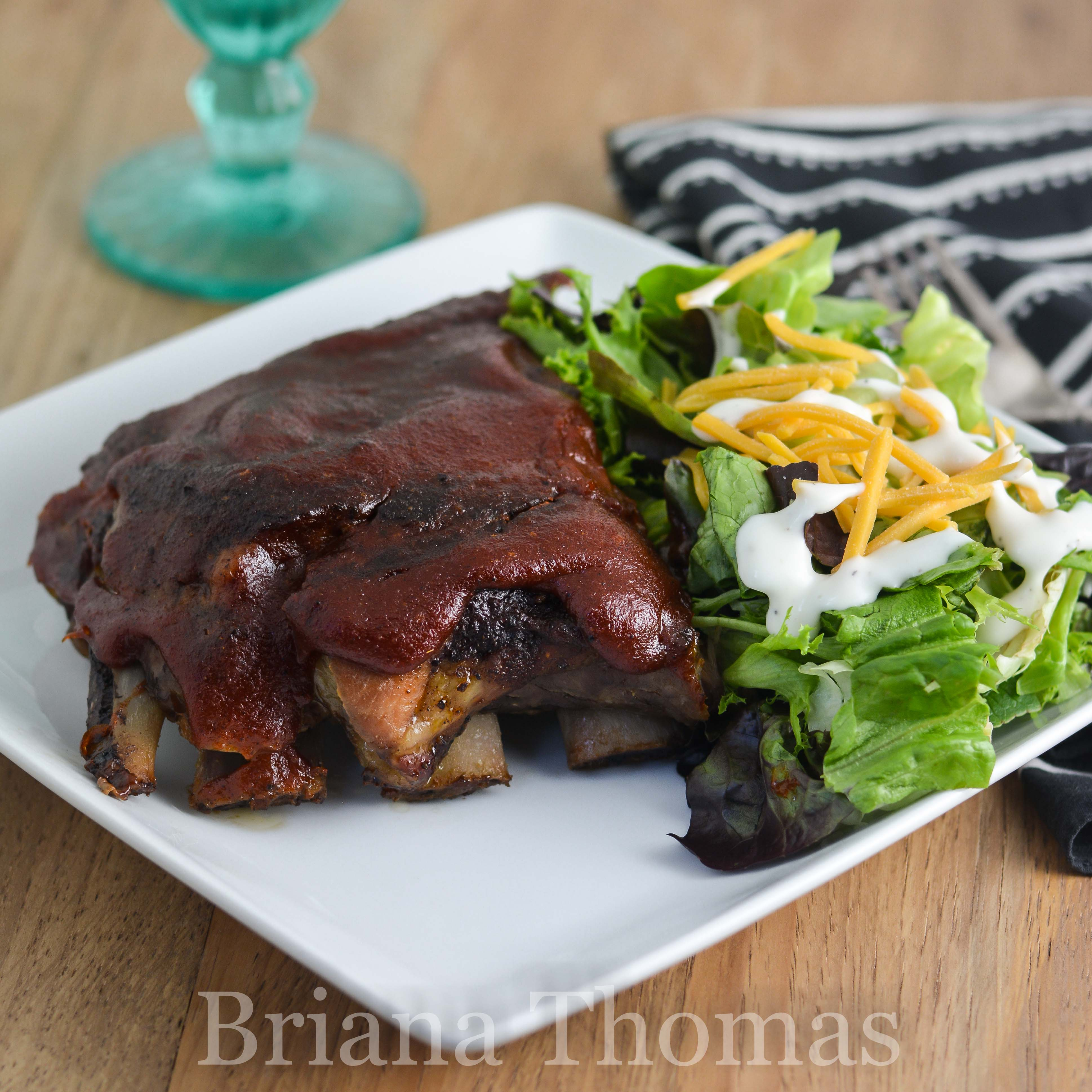 Bri's Baked Barbecue Ribs are basted with a delicious rib sauce and baked until they fall off the bone! THM:S, low carb, sugar free, gluten/egg/dairy/nut free