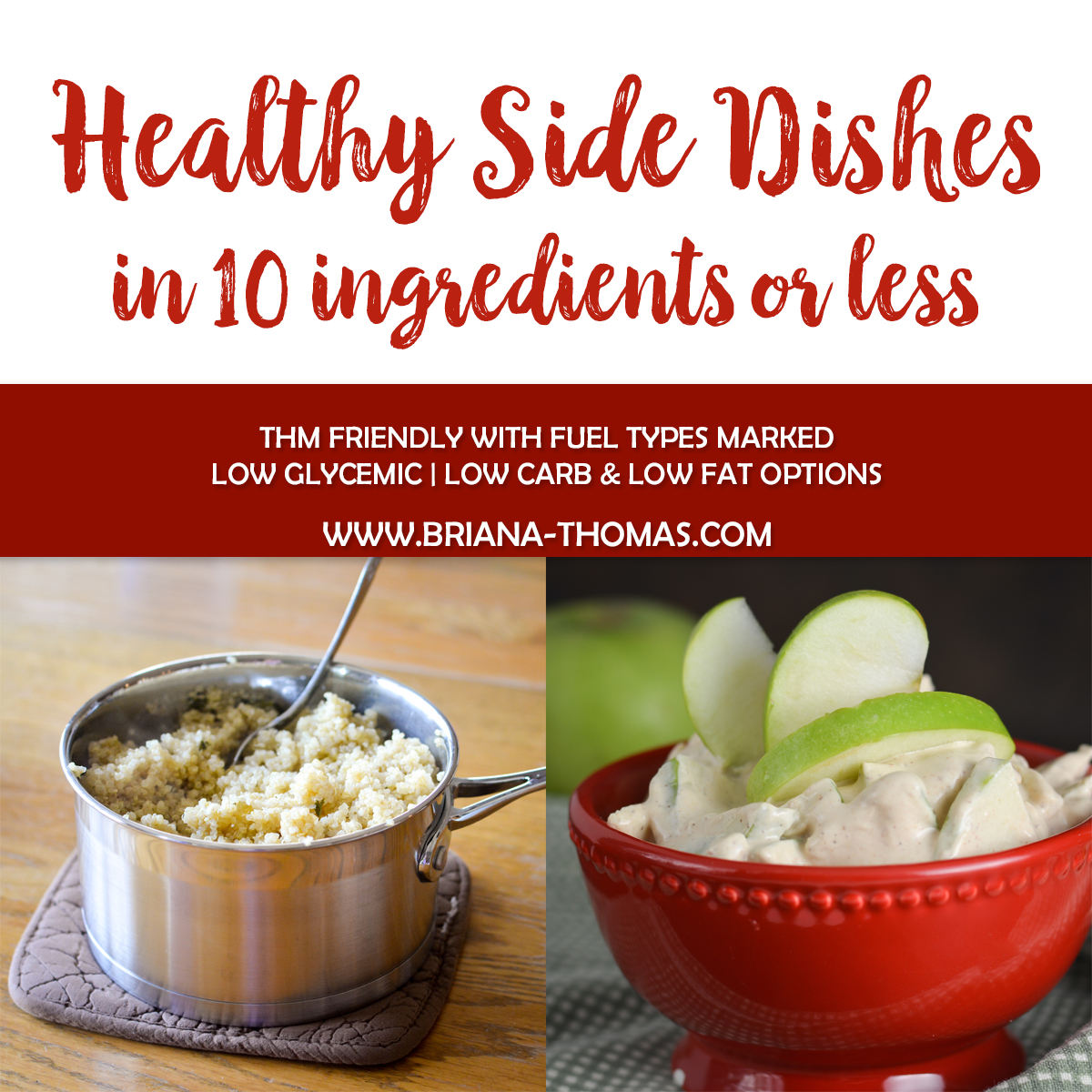Check out this post for a big list of THM-friendly healthy side dishes in 10 ingredients or less to make supper prep a snap! Fuel types marked.