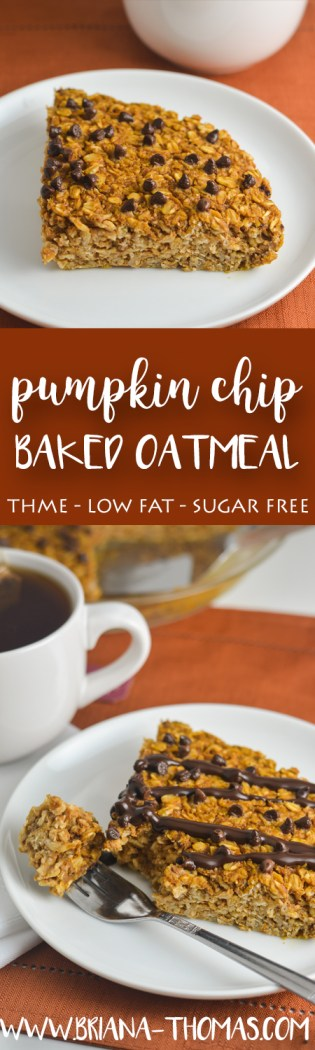 This Pumpkin Chip Baked Oatmeal is my new favorite fall breakfast! THM:E, low fat, sugar free, gluten free, dairy free, nut free, no special ingredients