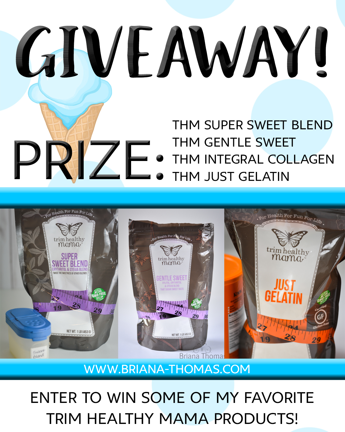 "Enter to win my ""getting started"" THM bundle! THM Super Sweet Blend, Gentle Sweet, Integral Collagen, and Just Gelatin! Everything you need!"