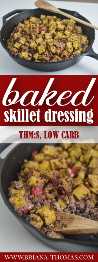 This Baked Skillet Dressing combines so many delicious elements for a healthy version of your favorite Thanksgiving side dish! THM:S, allergy options