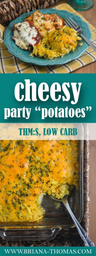 "A surprising secret ingredient helped me create a low-carb version of my mom's party potatoes! These Cheesy Party ""Potatoes"" are THM:S and gluten/egg free."