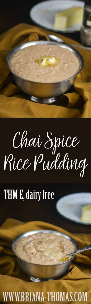 This Chai Spice Rice Pudding is comfort food at its finest! Full of amazing flavor, you can make it with ingredients found at your local grocery store if you substitute your favorite sweetener! THM E, low fat, sugar free, gluten/egg/dairy free with nut free option