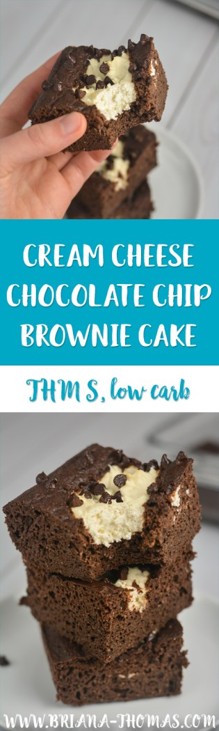 Moist chocolate cake, cheesecake filling, and chocolate chips combine to make this Cream Cheese Chocolate Chip Brownie Cake one of my favorite THM S desserts yet! It doesn't even take many ingredients at all! Low carb, sugar free, gluten/nut free