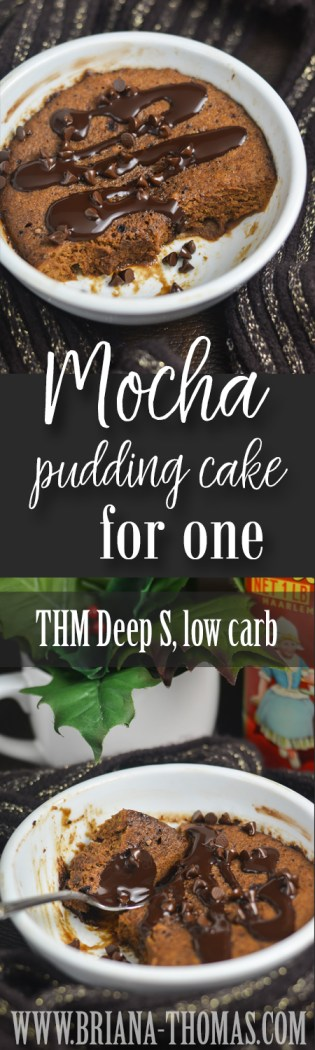 This deliciously soft Mocha Pudding Cake for One is a THM Deep S treat that can be used during a fuel cycle or any time your metabolism needs a boost! Low carb, sugar free, gluten/dairy/nut free