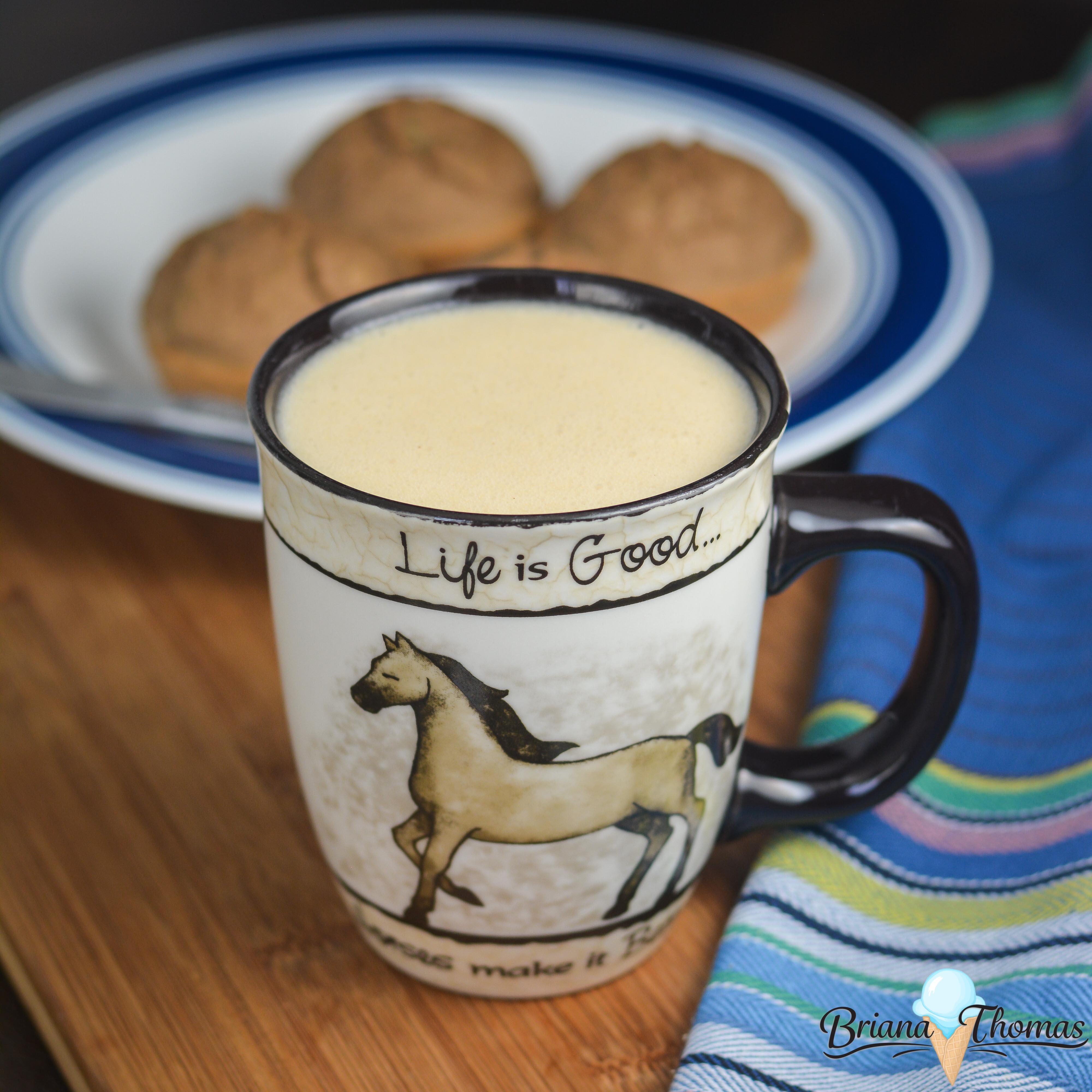 This thick and filling Peanut Butter Cookie Nog makes good use of my new favorite weight loss ingredient and is full of protein! THM Fuel Pull, low carb, low fat, sugar free, gluten/egg/dairy free