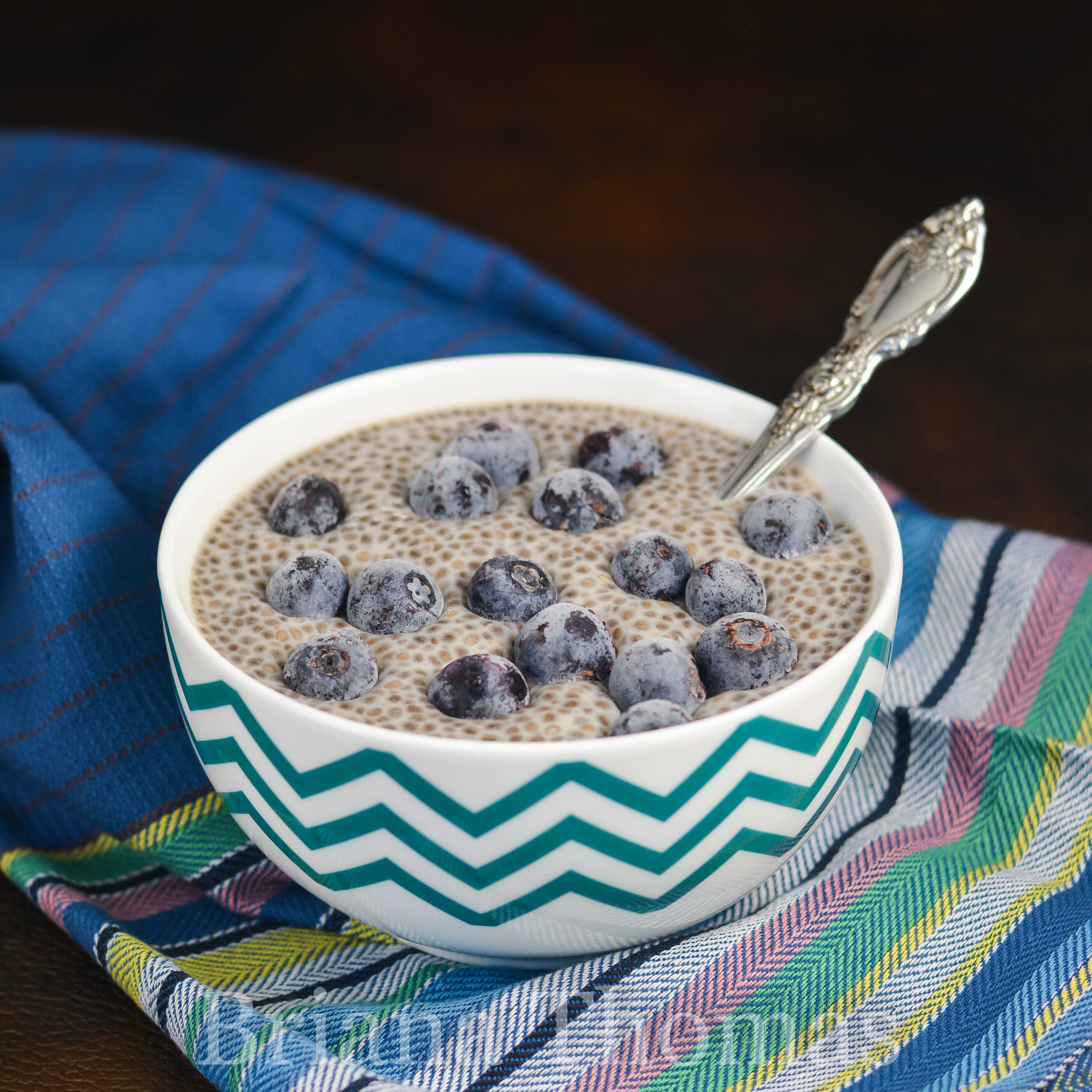 """This Single-Serve Vanilla Chia """"Tapioca"""" makes a great breakfast, snack, or dessert! THM:S, low carb, sugar free, gluten/egg/dairy/nut free options"""