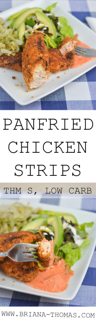 These delicious Panfried Chicken Strips remind me of Chick-fil-A! They don't take many ingredients to make and are great for kids! I love the flavorful breading and sriracha Ranch dipping sauce. THM S, low carb, gluten free, dairy free option, nut free