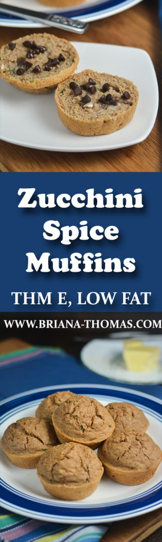 These Zucchini Spice Muffins taste like my mom's zucchini bread, especially when topped with a smidgen of butter and some sugar-free chocolate chips! THM E, low fat, sugar free, gluten free, dairy free, nut free, low glycemic