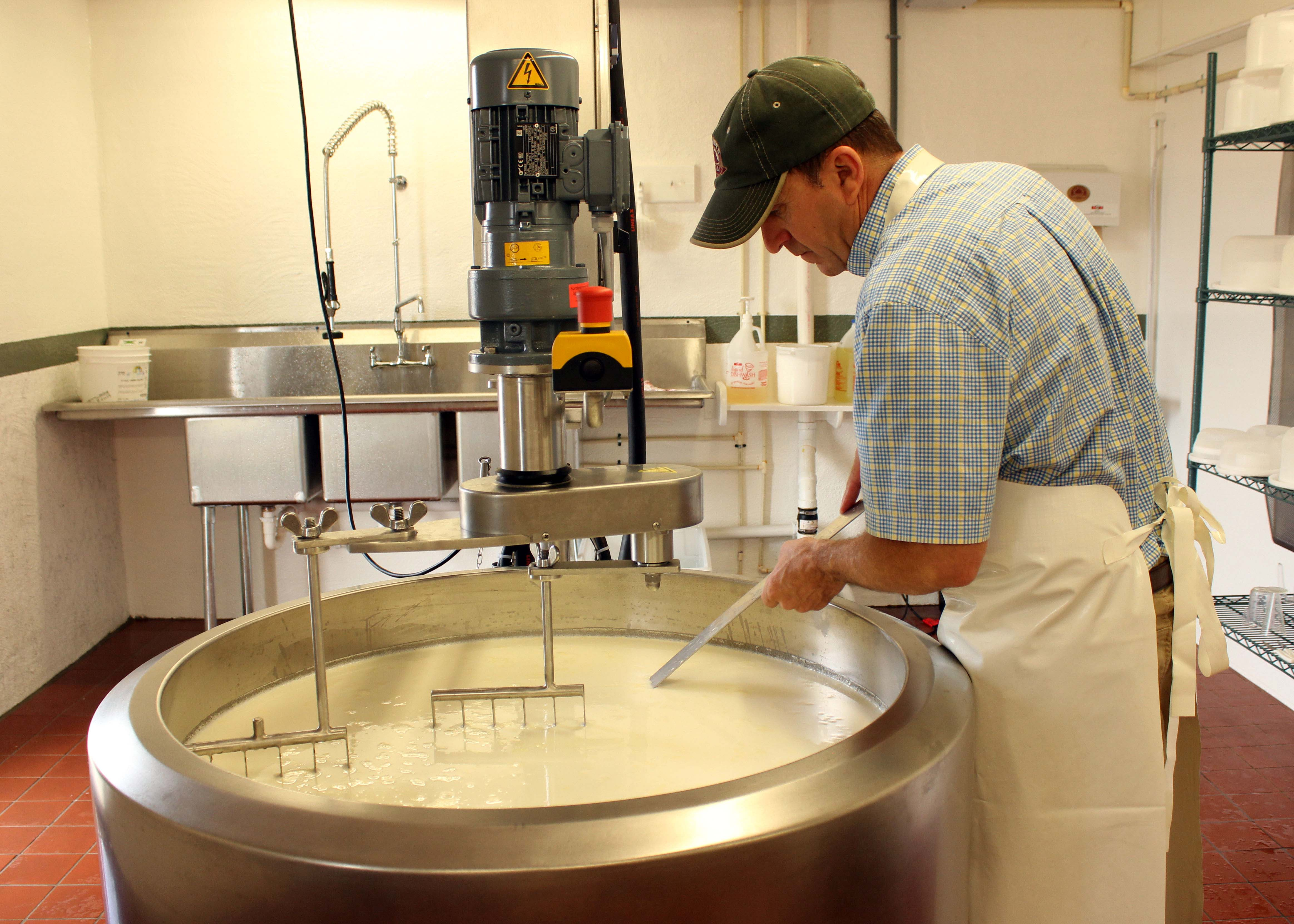 Dave Rotelle making cheese at September Farm Cheese