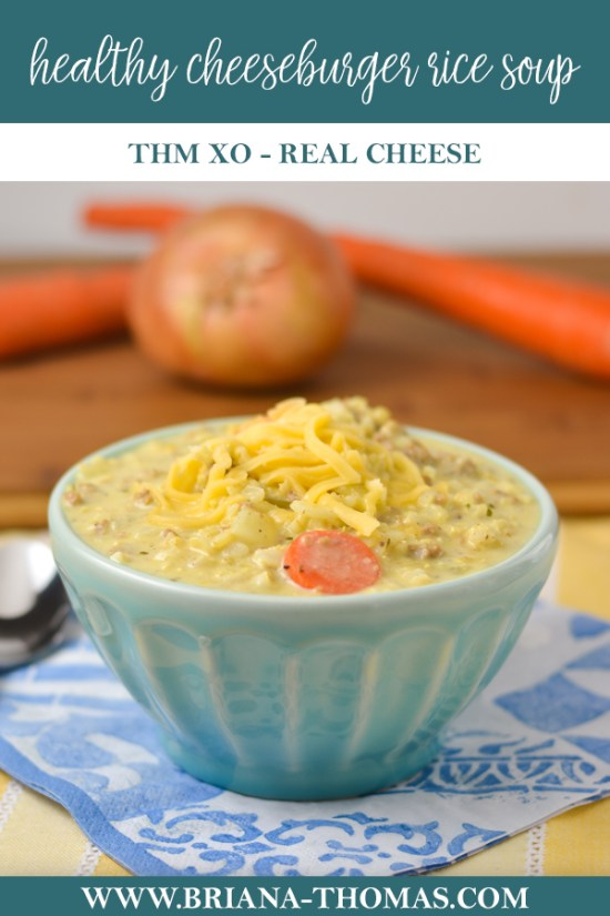 This Cheeseburger Rice Soup is a healthy version of an old church cookbook recipe my mom used to make! THM Crossover, gluten/egg free, nut free option