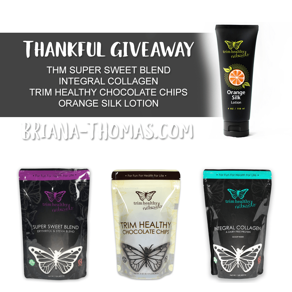 Come enter my Thankful Giveaway for a package of THM products that I would like to have myself! THM Super Sweet Blend, Trim Healthy Chocolate Chips, more!