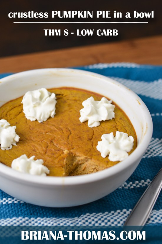 This Crustless Pumpkin Pie in a Bowl is the best part of the pie - and easy to make! THM S, low carb, gluten free, nut free