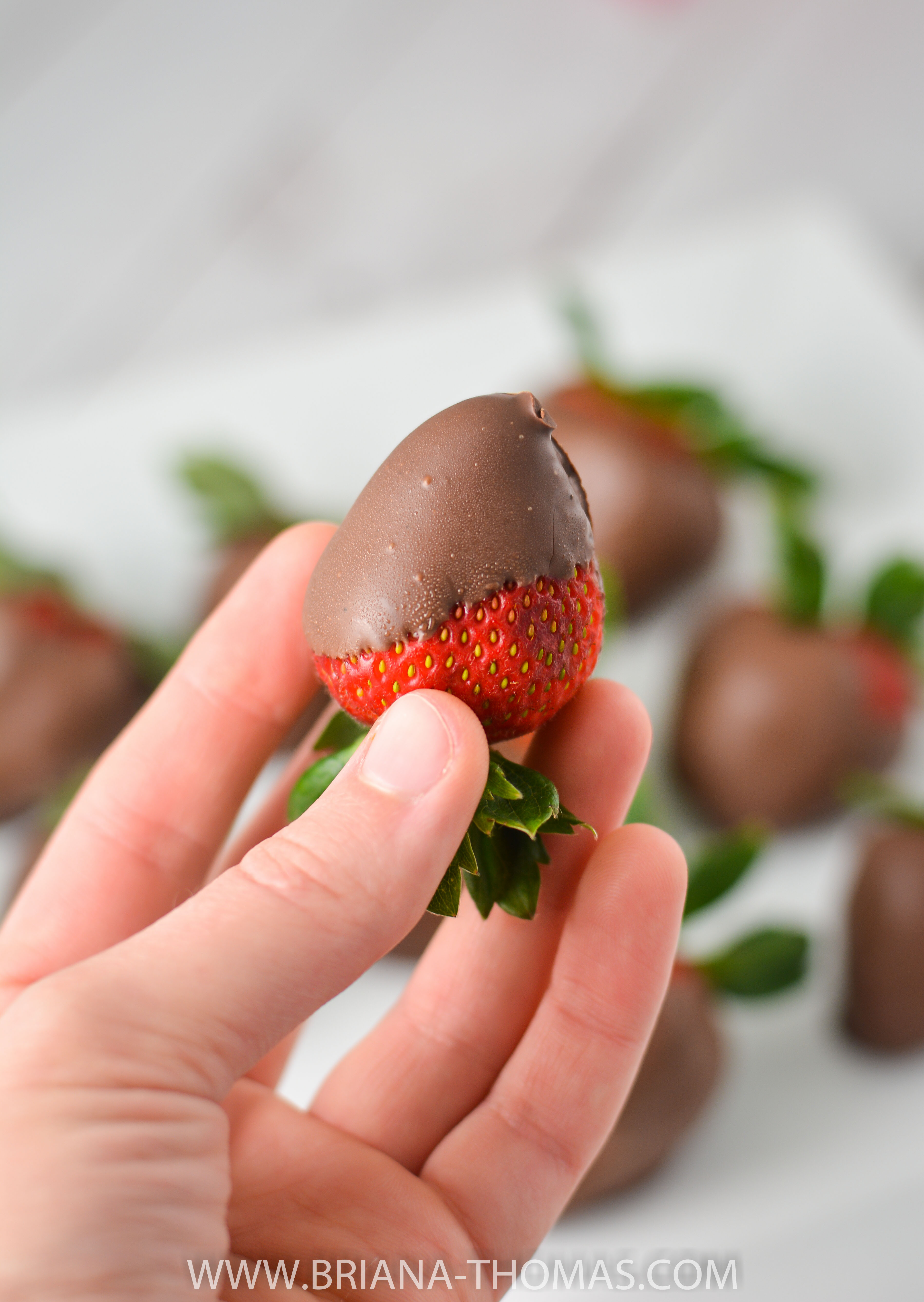 These Ganache-Covered Strawberries only take 5 ingredients and are THM S and low carb! Perfect for your healthy Valentine's Day party!