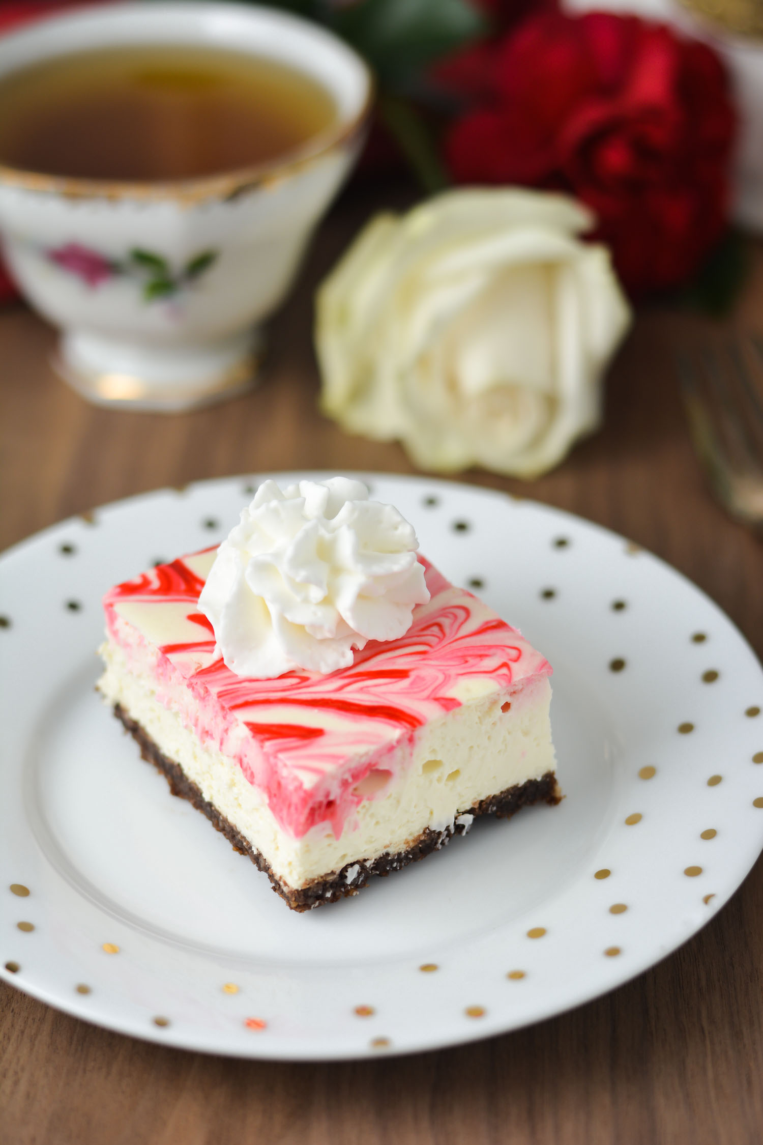 These Peppermint Cheesecake Bars with chocolate crust are easy to make and have the most amazing texture! No springform pan needed! THM S, Keto, Gluten Free
