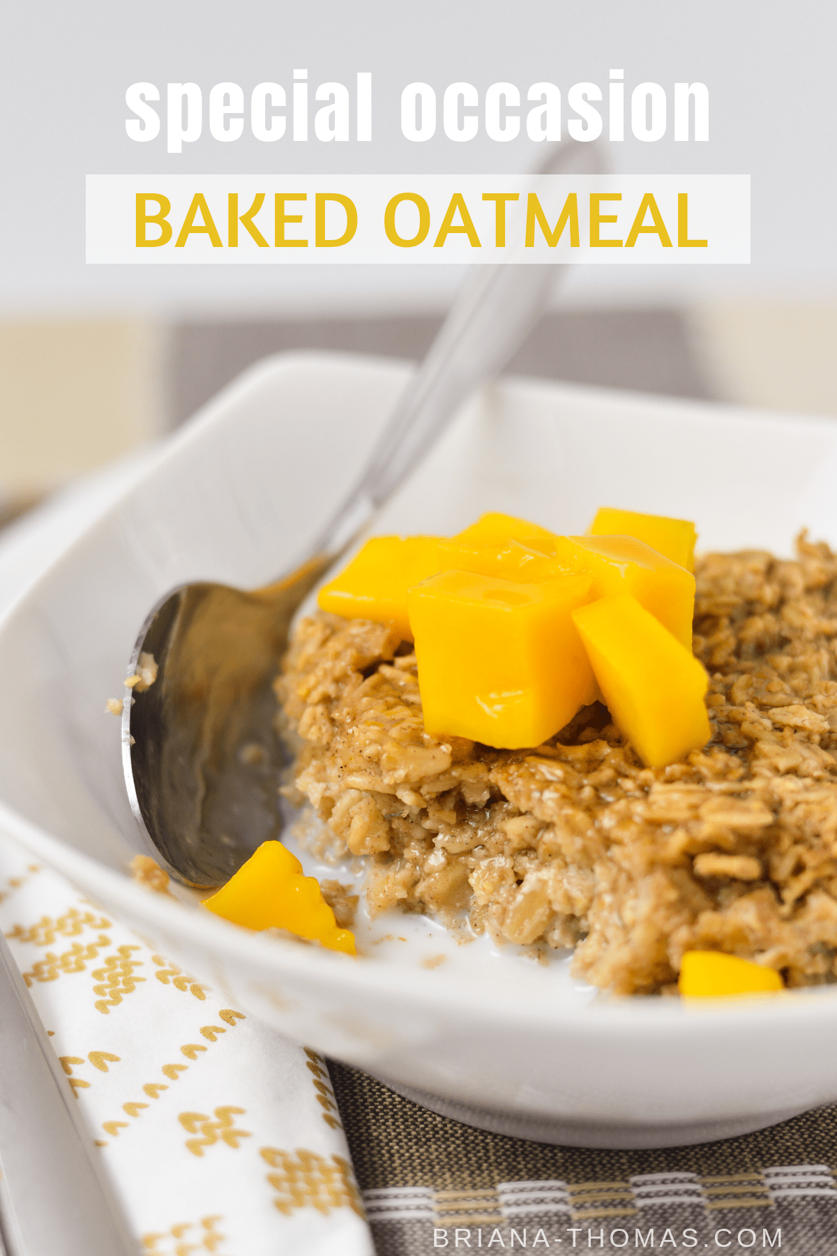 This Special Occasion Baked Oatmeal is perfect for kids and company! It's a THM Crossover and is free of refined sugar. No special ingredients if you sub your favorite sweetener! Gluten, dairy, and nut free options