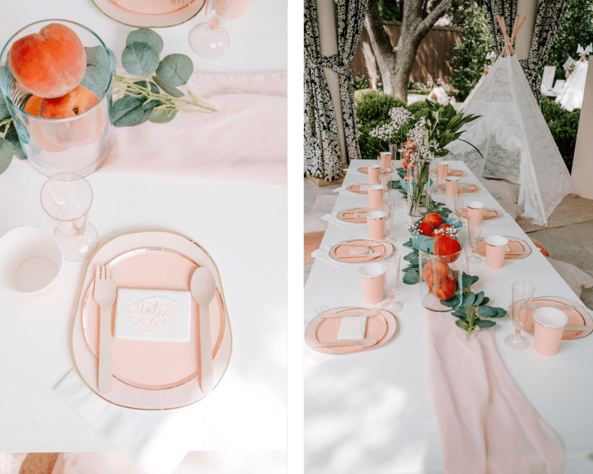 Wanderlust Picnic luxury picnic table setting for one sweet peach birthday