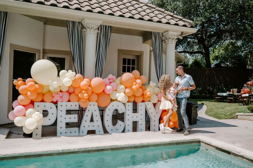 peachy marquee letters for one sweet peach theme first birthday
