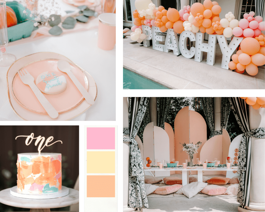 modern one sweet peach party mood board theme for first birthday