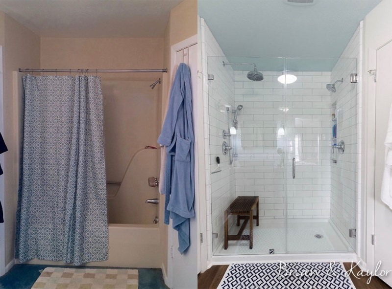 Brian &Kaylor Shower www.brianandkaylor.com #brianandkaylor #subwaytile #whiteshower
