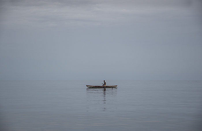 Fishing from an outrigger off the coast on Manus Island Papua New Guinea - pic by Brian Cassey