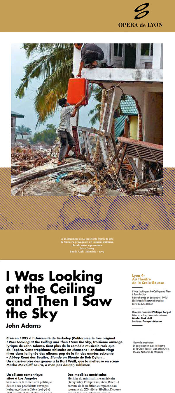 Opera de Lyon - 'I was Looking at the Ceiling and Then I Saw the Sky' - image by Brian Cassey made in the aftermath of the 2004 Boxing Day tsunami in Banda Aceh, Indonesia