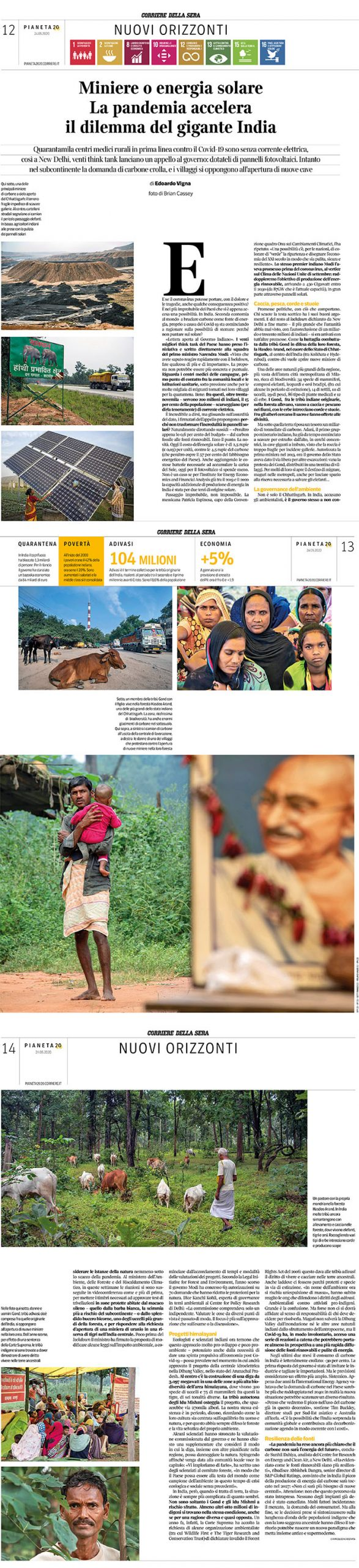 Corriere Della Sera - Adani, Gond Peoples and Hasdeo Arand Forest story - images by Brian Cassey