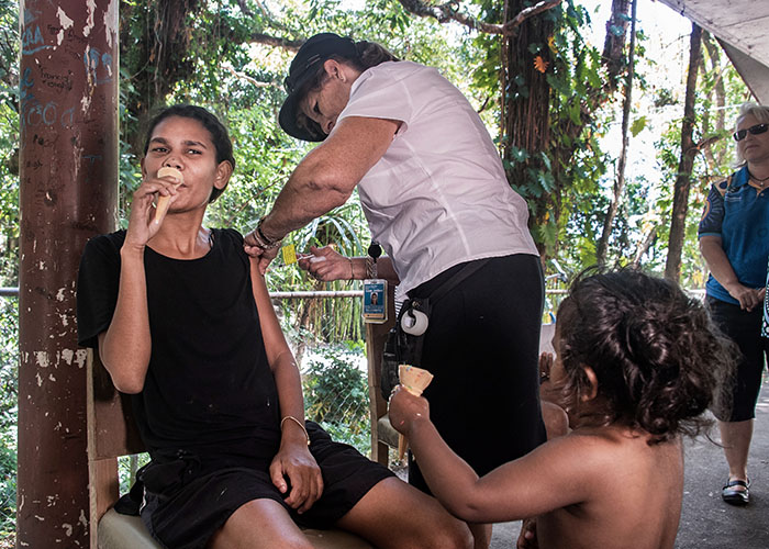 'Covid Vax & Ice Cream' - images of the covid vaccine door to door rollout in the indigenous community of Yarrabah, north Queensland - by Brian Cassey ©