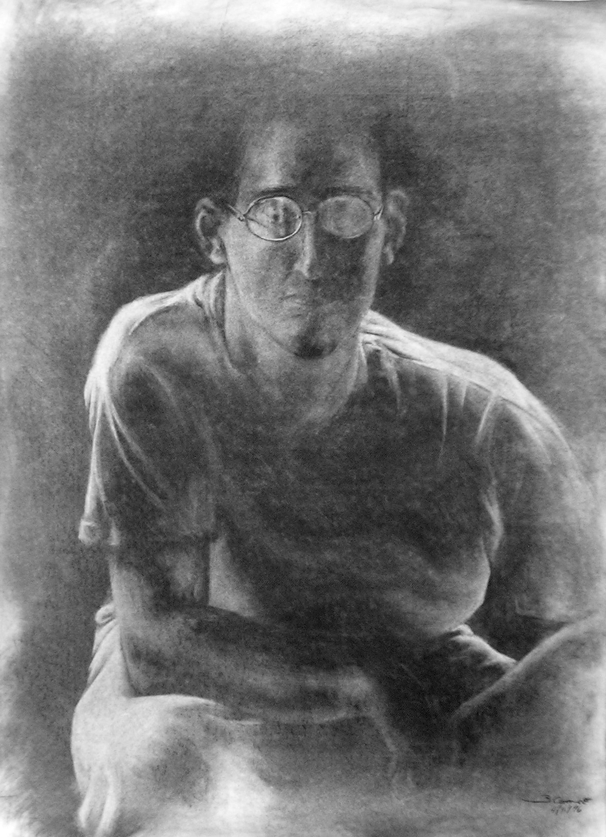 Self-portrait drawing by Brian Coonce 1996
